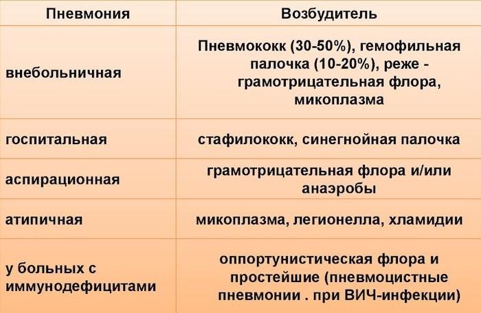 На фото представлены самые частые возбудители пневмоний по категориям