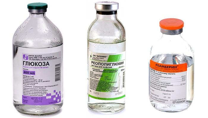 На картинке изображены раствор декстрозы (глюкоза), препараты Реополиглюкин и Реамберин