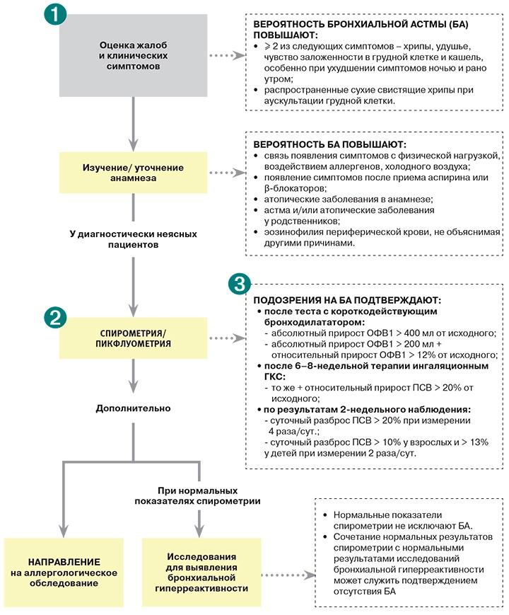 На картинке изображены стандарты обследования при бронхиальной астмой